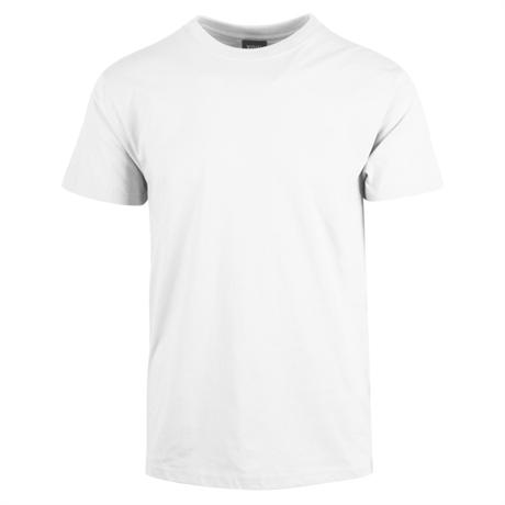 Hvit t skjorte med trykk av logo til gode priser billige t
