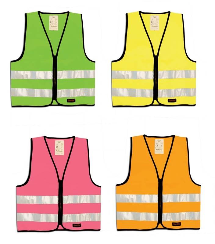 b069f65a Refleksvester for barn i grønn, rosa, gul og oransje med glidelås 407  reflectil