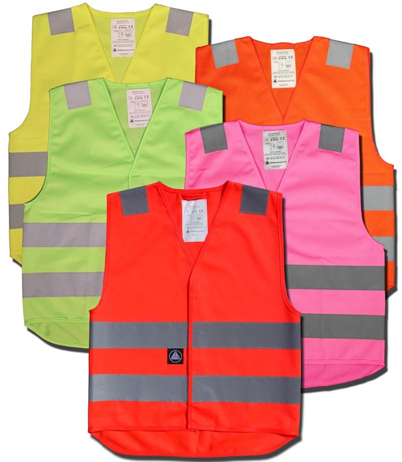b33bdf00 Refleksvest for barn en 1150 godkjent rosa, grønn, oransj, grønn ...